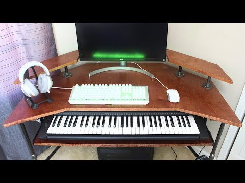 Modern Industrial Computer and Piano Desk | DIY Woodworking