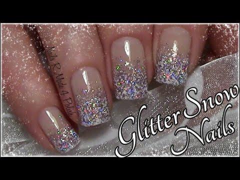 glitter snow nails easy winter