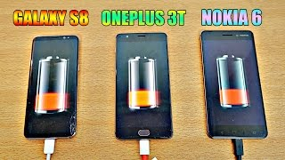 Samsung Galaxy S8 vs NOKIA 6 vs OnePlus 3T - Battery Drain Test! (4K)