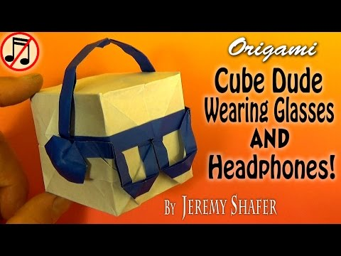 Origami Cube Dude Wearing Headphones (no music)