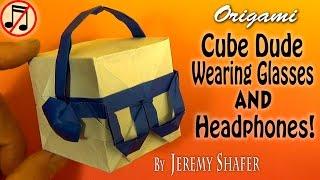 Origami Cube Dude Wearing Headphones