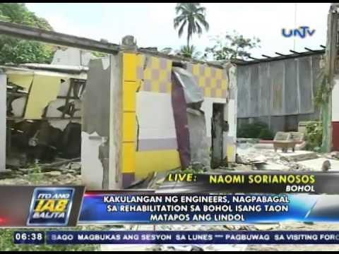 Kakulangan ng engineers nagpabagal sa rehabilitation sa Bohol, isang taon matapos ang lindol