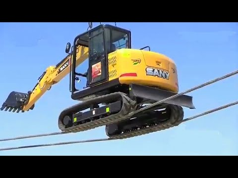 10 Extreme Dangerous Idiots Excavator Operator Skill - Fastest Deep River Crossing Excavator Driving