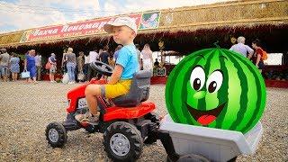 Лёва приехал на тракторе за арбузами на бахчу