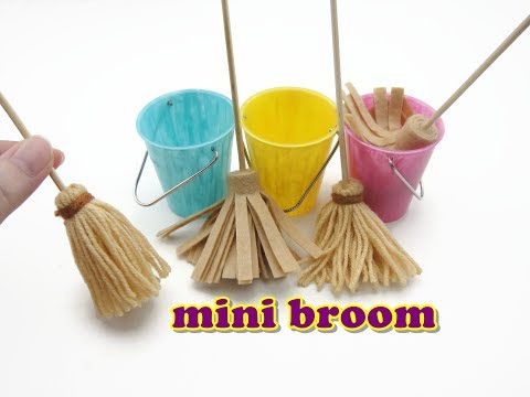 DIY Miniature Doll Accessories Mini Broom, Mop and Bucket - Easy
