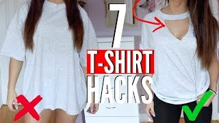 7 T-SHIRT HACKS EVERY Girl SHOULD Know | How to Transform your OLD T-SHIRTS !! (NO SEW)