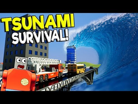 LEGO TSUNAMI DESTROYS LEGO CITY BRIDGE! - Brick Rigs Gameplay Challenge - Lego City Disaster