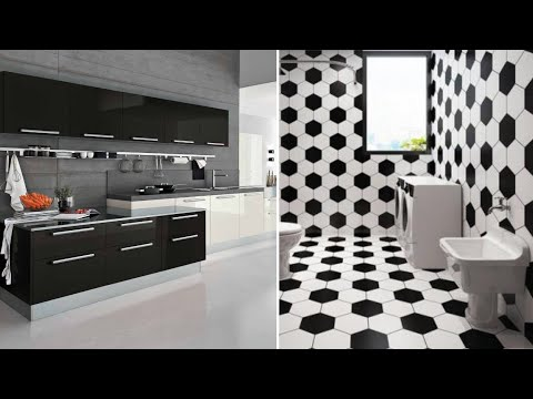 Beautiful Black And White Tile Design Concept For Modern Kitchen And Bathroom Interior Decoration Youtube