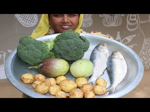 Village Food Farm Fresh Broccoli Recipe Village Style Delicious Fresh Broccoli & Hilsa Fish Cooking