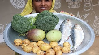 Village Food Farm Fresh Broccoli Recipe Village Style Delicious Fresh Broccoli & Hilsa Fish Cooking
