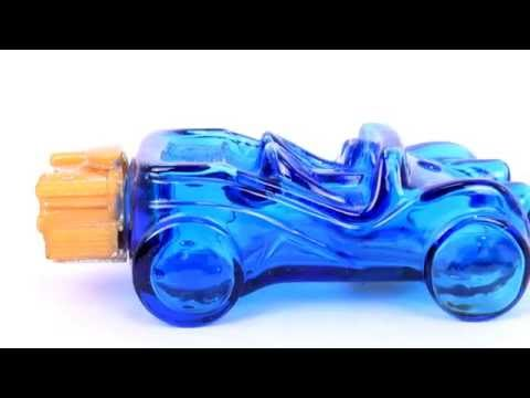 Vintage AVON Rare Big Mold Glass Car Shape After Shave Bottle From New York In Blue Color.