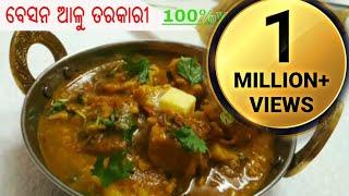 ବେସନ ଆଳୁ ତରକାରୀ ବିନା ପିଆଜ ରସୁଣରେ ll Besan aloo curry without onion ll Pure Veg curry recipe in Odia
