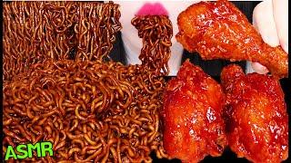 ASMR FRIED CHICKEN, BLACK BEAN NOODLES 짜파게티, 시크릿 양념 닭다리 치킨 먹…