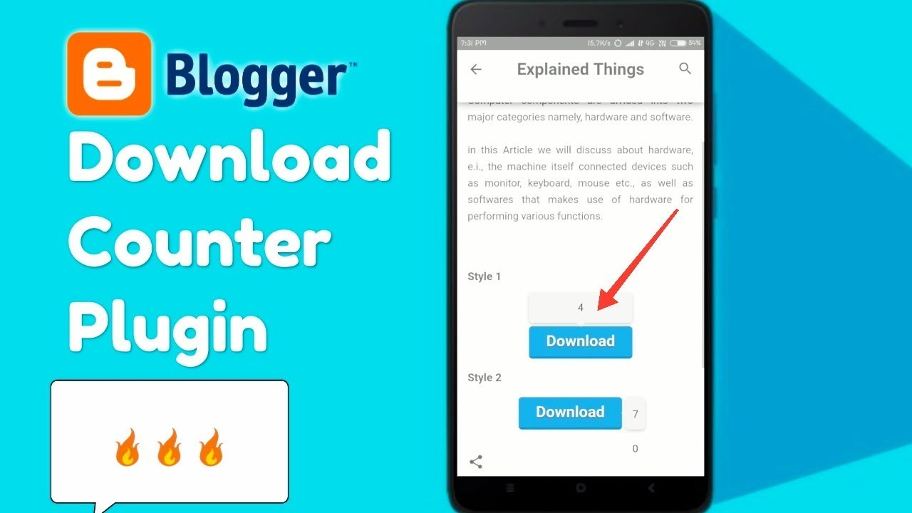Download Counter Plugin Blogger me Kaise Install Kare? - Dynamic Click  Counter
