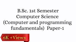 B.Sc. 1st Semester Computer Science Paper-1 Question paper