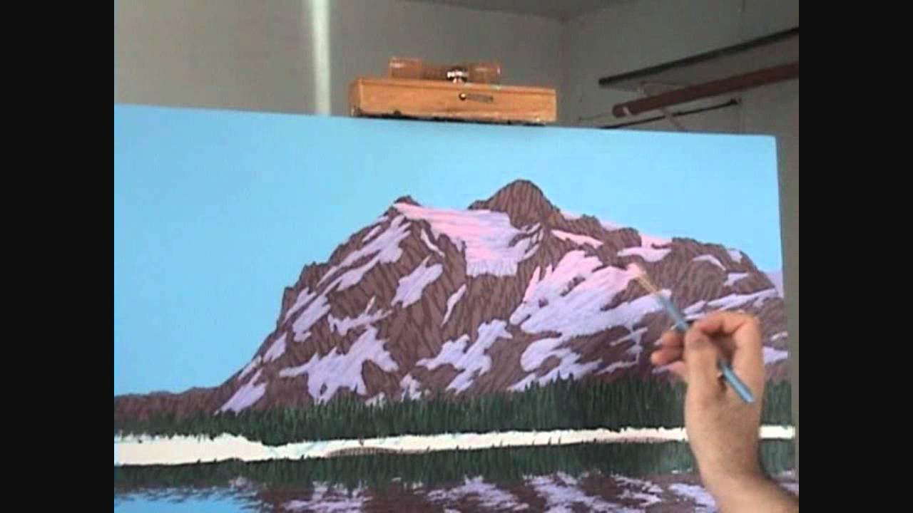 Hvordan male et fjell og innsj? 10 bruker akryl p? lerret