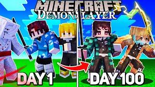 We Survived 100 Days In Demon Slayer Minecraft! - Duo Demon Slayer Minecraft 100 Days