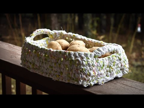 Crochet Rectangle or oblong Basket with Fabric Strips or T-shirt Yarn. Part 1 of 2