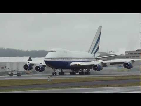 Private Boeing 747SP Landing taxi and takeoff at KBFI Seattle