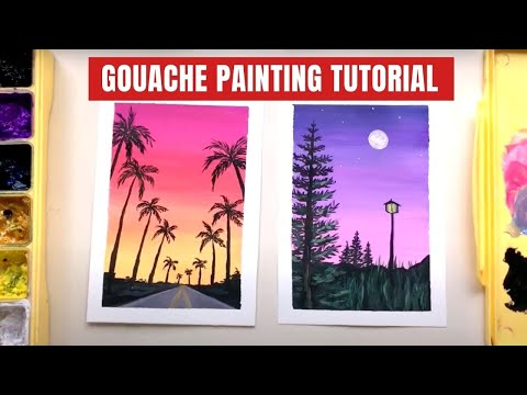 Miya Himi Gouache Landscape Painting Tutorial for Beginners | Learn Gouache Painting Basics