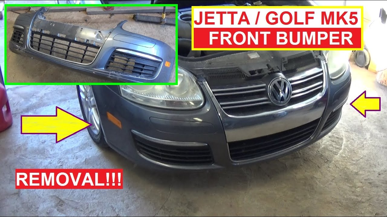 vw jetta a5 mk5 golf mk5 front bumper cover removal and replacement [ 1280 x 720 Pixel ]