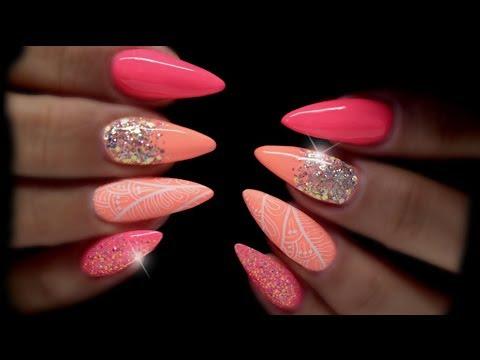 neon summer nails coloured hard