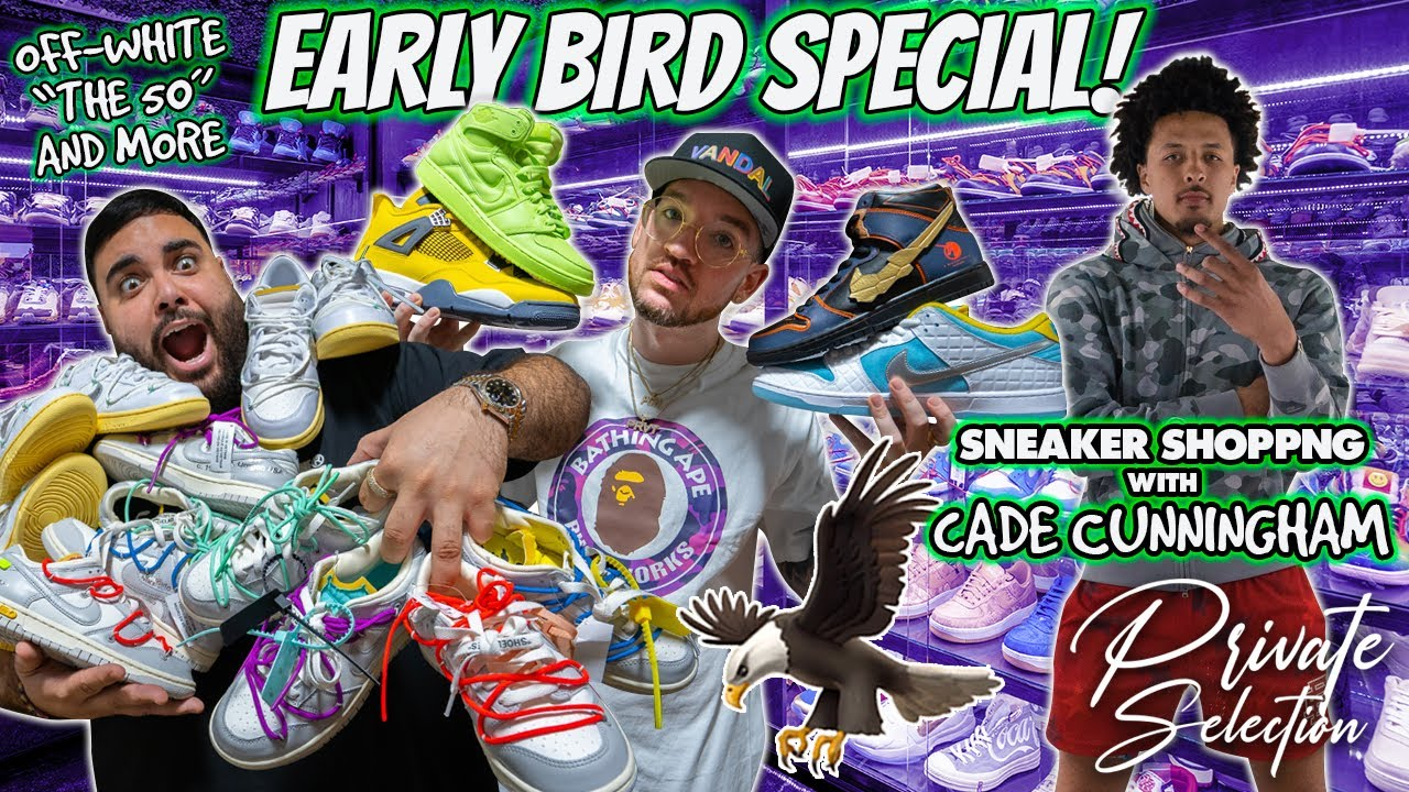 """UNBOXING OFF-WHITE """"THE 50"""" AND MORE *CADE CUNNINGHAM SNEAKER SHOPPING*"""