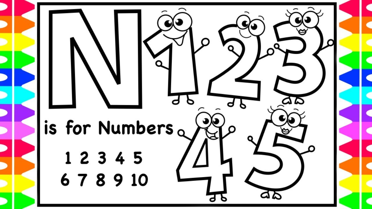 Abc Alphabets Coloring Page N Is For Numbers Coloring Pages