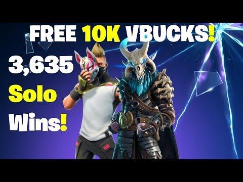 10K Vbucks Giveaway - 3635 Solo Wins! FORTNITE LIVE STREAM