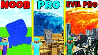 Minecraft Battle: NOOB vs PRO vs EVIL PRO: TSUNAMI BUILD CHALLENGE / Animation
