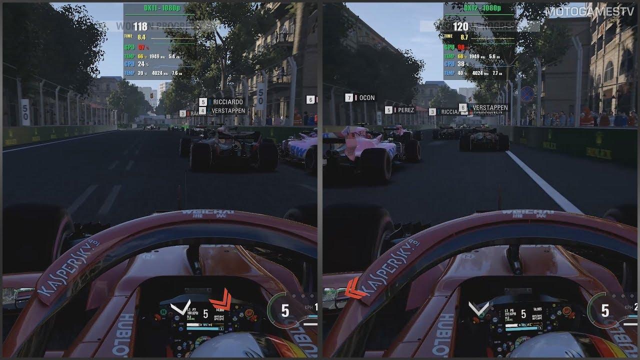 F1 2018 PC - DX11 vs DX12 Beta - 1080p Performance Comparison