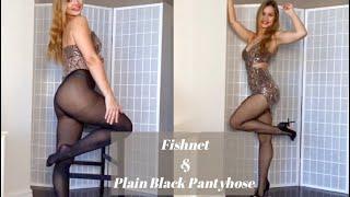 Fishnet and Plain Black Pantyhose Try OnValentina Victoria