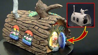 DIY Fairy House using Cardboard and Paper Clay | How to make a fairy garden house from cardboard