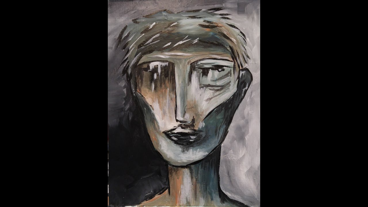 Abstract Face Step Acrylic Painting Canvas Beginners