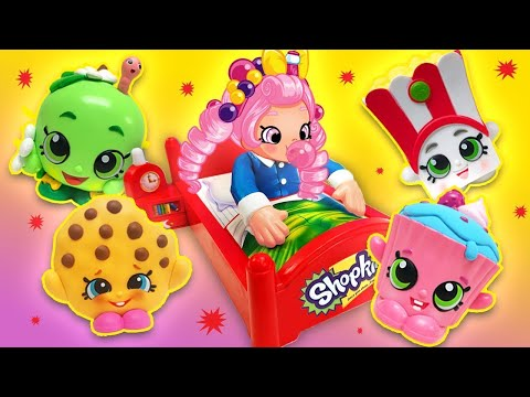 Don't Wake Bubbleisha Shopkins Game! Featuring Kooky Cookie, Cupcake Chic, and Strawberry Kiss!