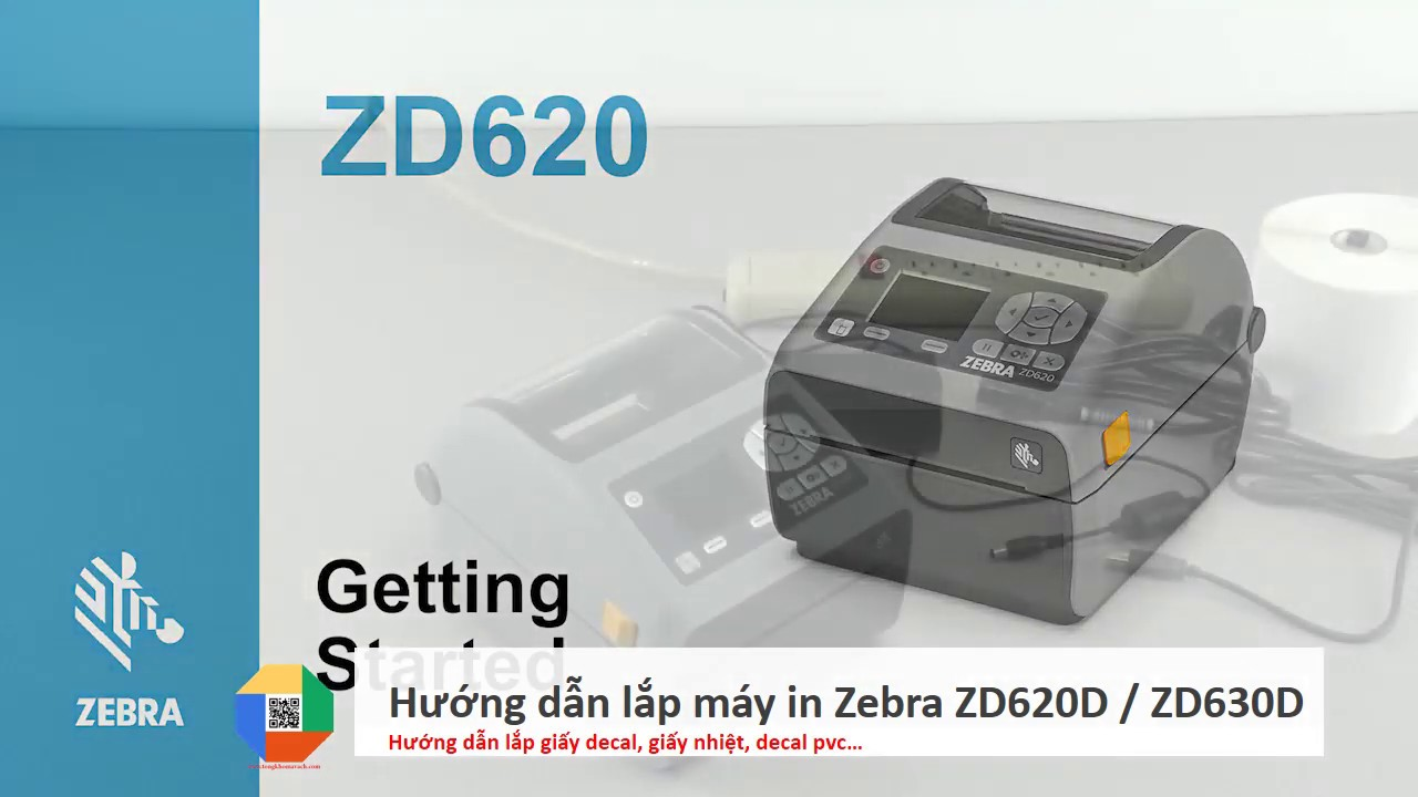 Hướng dẫn sử dụng lắp giấy cho máy in Zebra ZD620D