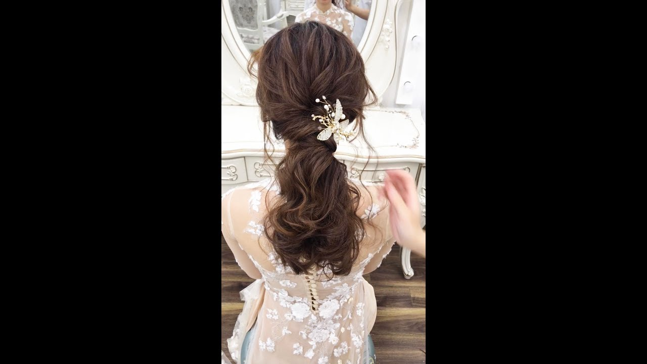 Kiểu tóc cô dâu đẹp với tóc buộc đuôi ngựa đẹp nhẹ nhàng mà tinh tế  – Mai Đỗ Makeup