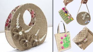 5 Jute bags making at home    Bag designs from jute and old things