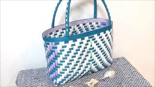 ターコイズブルーの手提げバッグの作り方