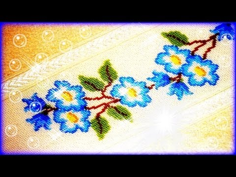 Toalha flores azuis ponto cruz