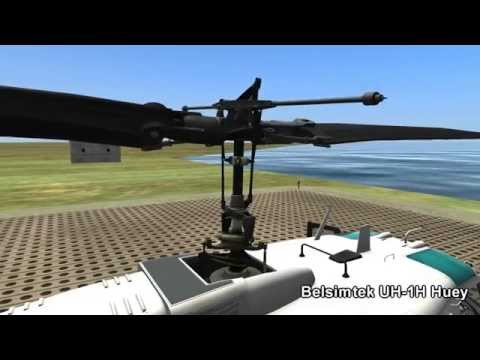 FSX & DCS Bell 205/UH-1 Huey Swashplate and Main Rotor Comparison  [Gamerlator]