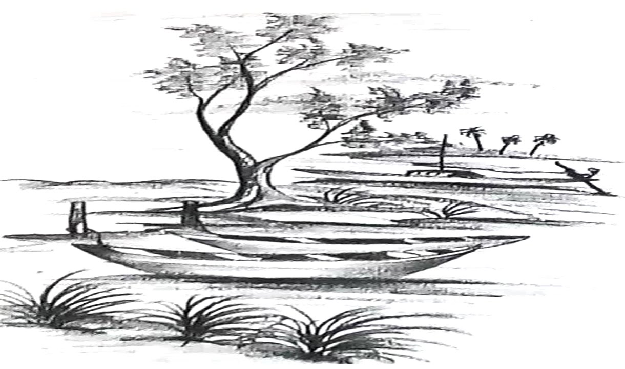 How to draw a scenery indian river side landscape pencil drawing