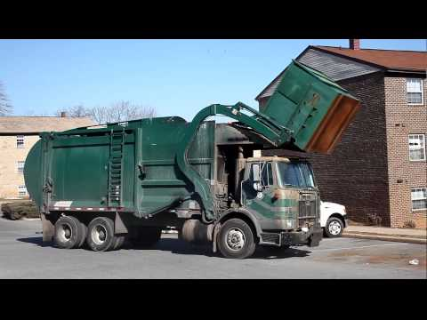 Baltimore Garbage Truck In Action, Tahoe Circle, Owings Mills, Maryland