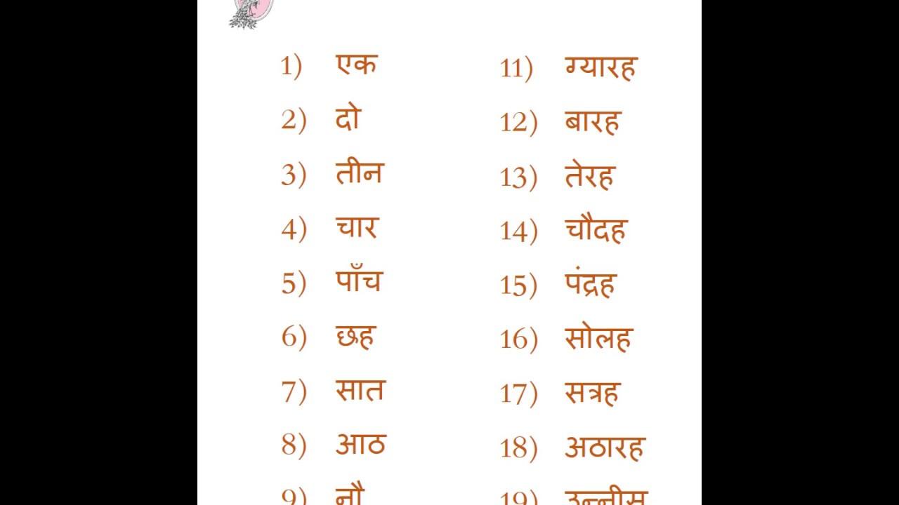 1-20 Hindi Numbers