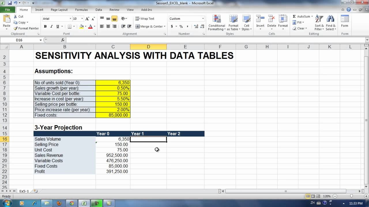 Exercise 5-1. Sensitivity Analysis - Building the Spreadsheet ...