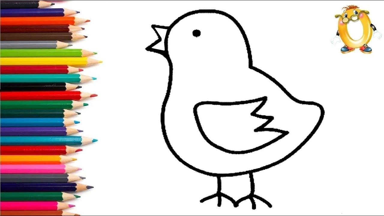 Раскраска для детей ЦЫПЛЁНОК. Мультик - Раскраска. Учим ...