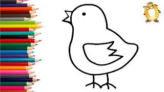 Раскраска для детей ЦЫПЛЁНОК. Мультик - Раскраска. Учим цвета II ОБУЧАШКА ТВ