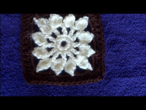 How To Crochet A Granny Square Flower Youtube