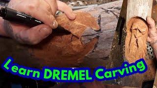 Dremel carving, #2 carving driftwood woodspirit, beachcomber carving, dremel, foredom, carving, wood