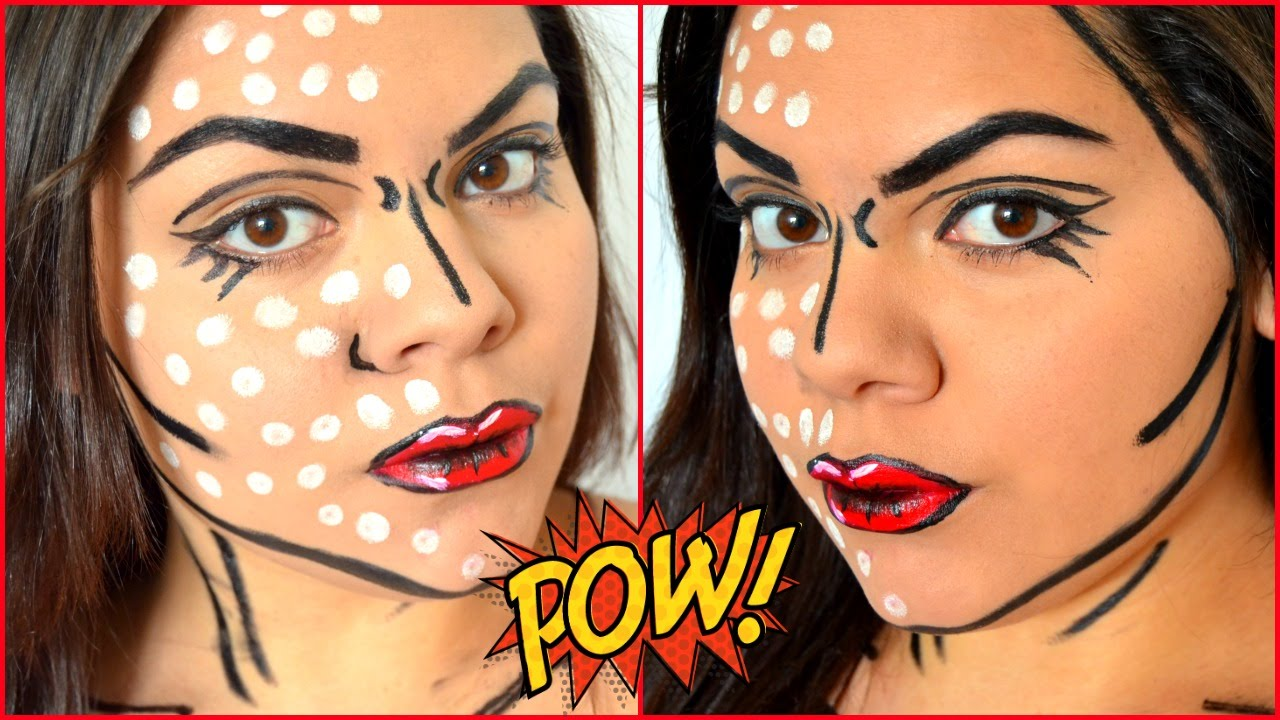 Cartoon pop art makeup tutorial | dare halloween makeup 2017.